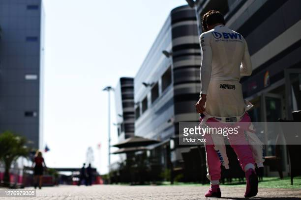 Lance Stroll of Canada and Racing Point walks in the Paddock prior to the F1 Grand Prix of Russia at Sochi Autodrom on September 27 2020 in Sochi...