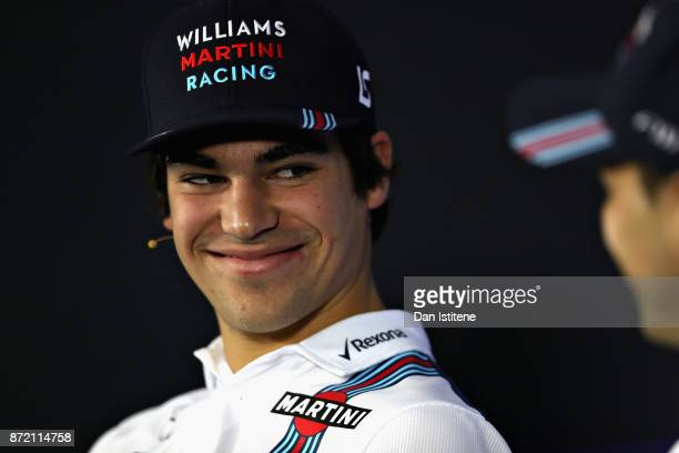 Lance Stroll of Canada and Williams in the Drivers Press Conference during previews for the Formula One Grand Prix of Brazil at Autodromo Jose Carlos...