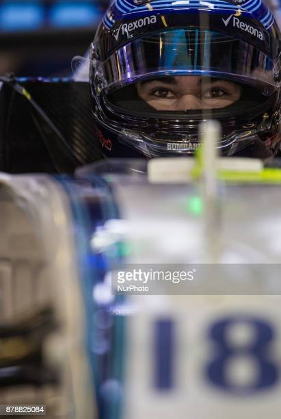 Lance Stroll of Canada and Williams Team driver goes during the first practice at Formula One Etihad Airways Abu Dhabi Grand Prix on Nov 24 2017 in...