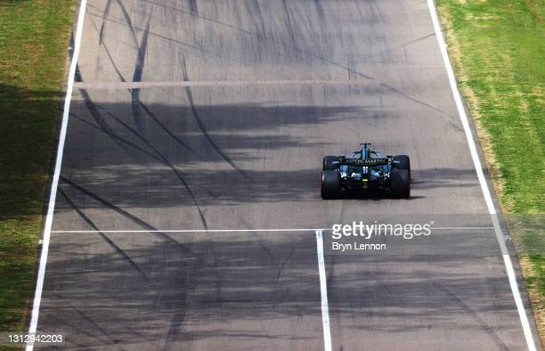 Lance Stroll of Canada driving the Aston Martin AMR21 Mercedes on track during final practice ahead of the F1 Grand Prix of Emilia Romagna at...