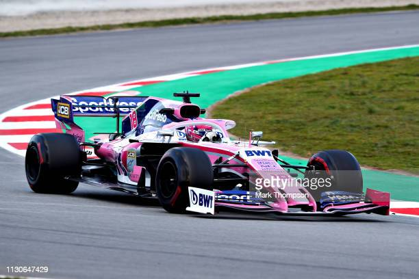 Lance Stroll of Canada driving the Racing Point RP19 Mercedes on track during day two of F1 Winter Testing at Circuit de Catalunya on February 19...