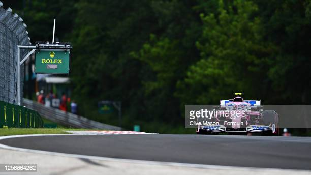 Lance Stroll of Canada driving the Racing Point RP20 Mercedes during qualifying for the F1 Grand Prix of Hungary at Hungaroring on July 18, 2020 in...