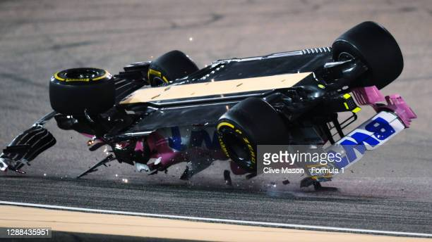 Lance Stroll of Canada driving the Racing Point RP20 Mercedes is launched upside down following a crash during the F1 Grand Prix of Bahrain at...