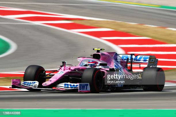 Lance Stroll of Canada driving the Racing Point RP20 Mercedes on track during qualifying for the F1 Grand Prix of Spain at Circuit de...
