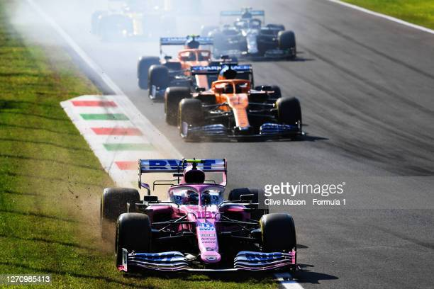 Lance Stroll of Canada driving the Racing Point RP20 Mercedes runs wide during the F1 Grand Prix of Italy at Autodromo di Monza on September 06, 2020...