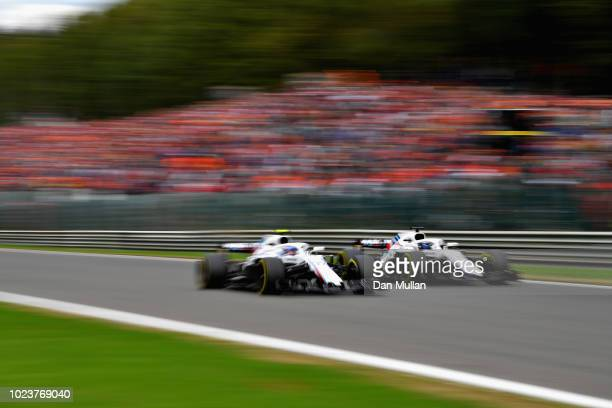 Lance Stroll of Canada driving the Williams Martini Racing FW41 Mercedes and Sergey Sirotkin of Russia driving the Williams Martini Racing FW41...
