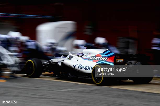 Lance Stroll of Canada driving the Williams Martini Racing FW41 Mercedes in the Pitlane during day four of F1 Winter Testing at Circuit de Catalunya...