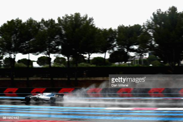 Lance Stroll of Canada driving the Williams Martini Racing FW41 Mercedes on track during final practice for the Formula One Grand Prix of France at...