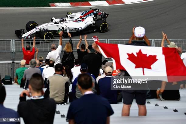 Lance Stroll of Canada driving the Williams Martini Racing Williams FW40 Mercedes on track during practice for the Canadian Formula One Grand Prix at...