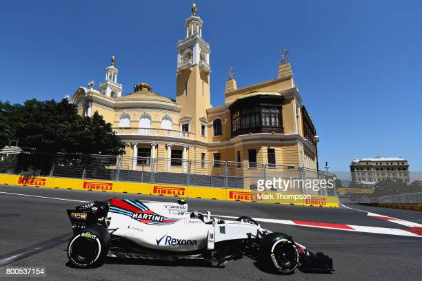 Lance Stroll of Canada driving the Williams Martini Racing Williams FW40 Mercedes on track during final practice for the Azerbaijan Formula One Grand...