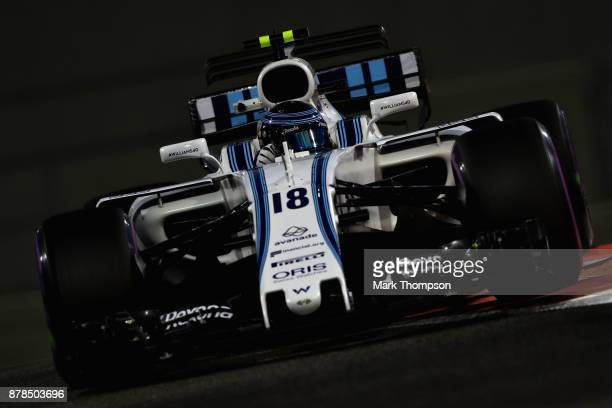 Lance Stroll of Canada driving the Williams Martini Racing Williams FW40 Mercedes on track during practice for the Abu Dhabi Formula One Grand Prix...
