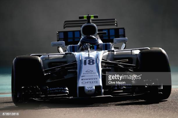 Lance Stroll of Canada driving the Williams Martini Racing Williams FW40 Mercedes on track during final practice for the Abu Dhabi Formula One Grand...