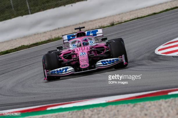 Lance Stroll participates in the tests for the new season of the Formula One Grand Prix at the Circuit de Catalunya in Montmelo
