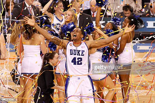 Lance Thomas of the Duke Blue Devils celebrates after the Blue Devils defeat the Butler Bulldogs 61-59 in the 2010 NCAA Division I Men's Basketball...