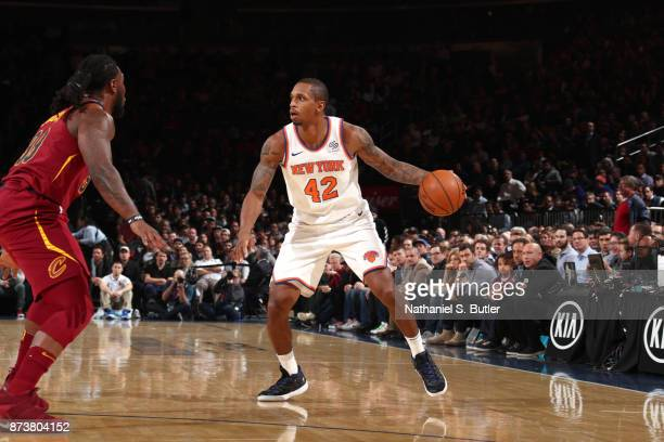 Lance Thomas of the New York Knicks handles the ball against the Cleveland Cavaliers on November 13 2017 at Madison Square Garden in New York City...
