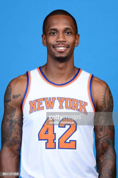 Lance Thomas of the New York Knicks poses for a portrait during 2017 Media Day on September 25 2017 at the New York Knicks Practice Facility in...