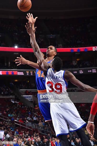 Lance Thomas of the New York Knicks shoots the ball against the Philadelphia 76ers at Wells Fargo Center on January 21 2015 in Philadelphia...