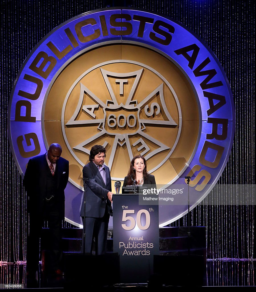 Lance Volland and Juli Goodwin, recipient of the Maxwell Weinberg Award for Best Publicity Campaign for a Motion Picture attend the 50th Annual ICG Publicists Awards which took place at The Beverly Hilton Hotel on February 22, 2013 in Beverly Hills, California.