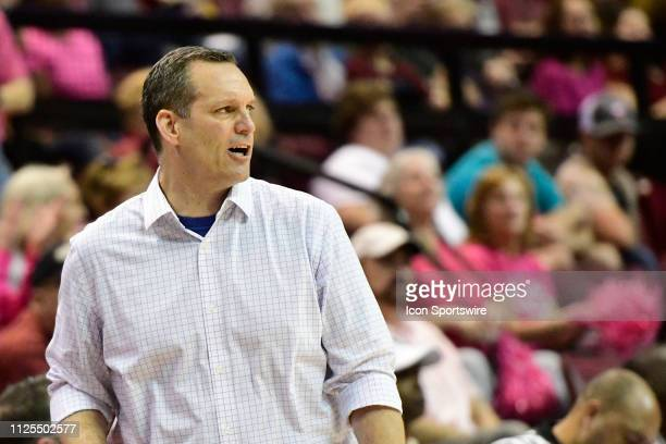 Lance White women's basketball head coach University of Pittsburgh Panthers shouts from the sideline during an Atlantic Coast Conference match-up...
