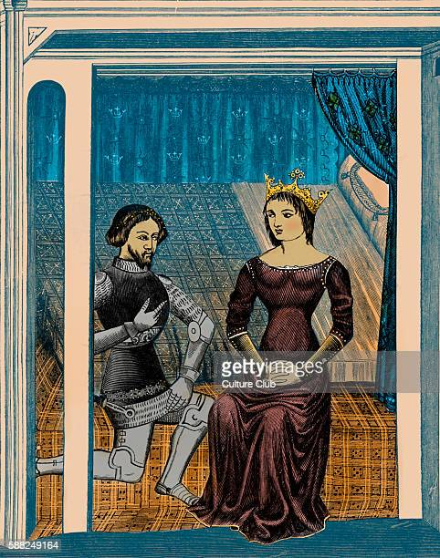 Lancelot and Guinevere after miniature in 11th century manuscript G Legendary queen consort of King Arthur and had love affair with his chief knight...