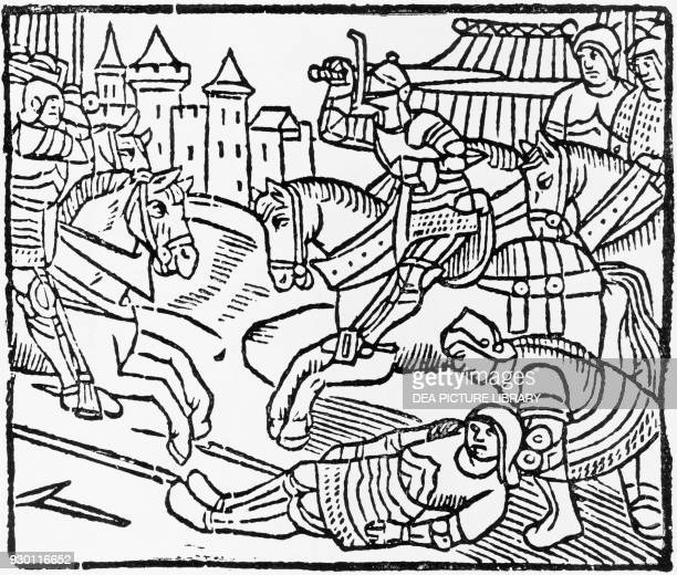 Lancelot in a jousting tournament illustration from Lancelot of the Lake 1513 edition