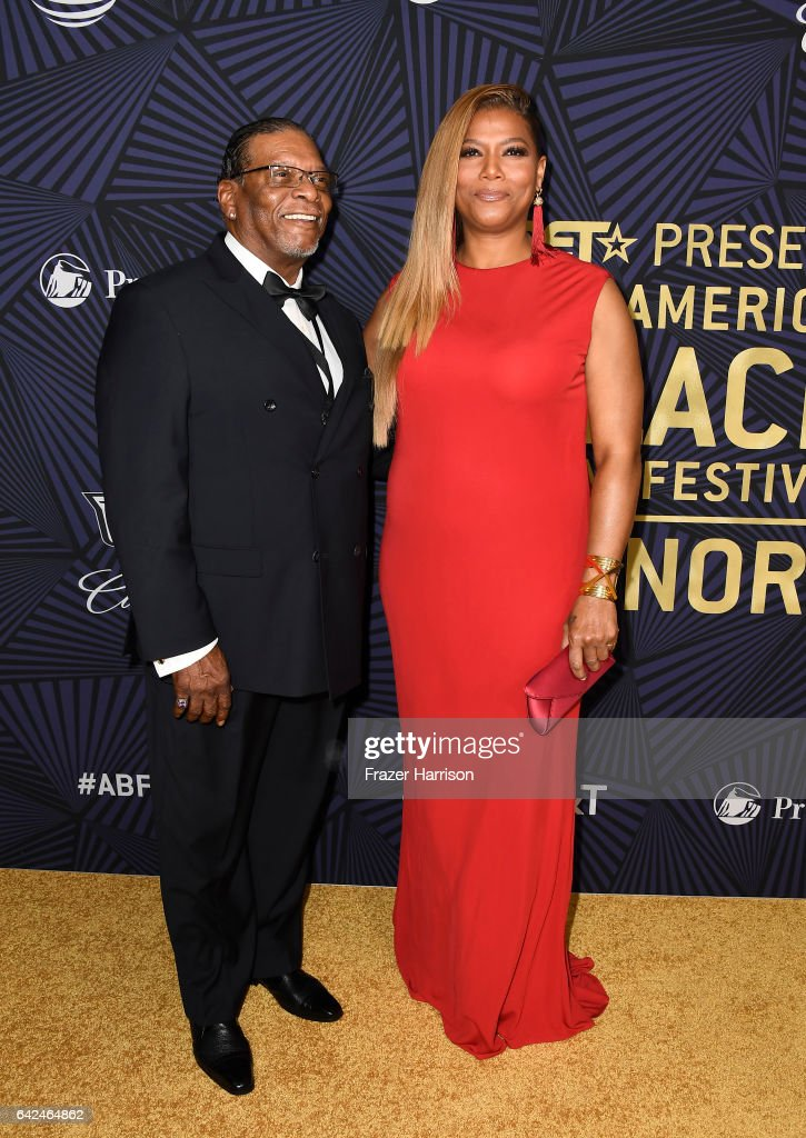 Lancelot Owens, Sr. (L) and honoree Queen Latifah attend BET Presents the American Black Film Festival Honors on February 17, 2017 in Beverly Hills, California.