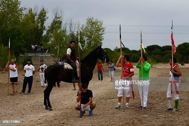 "Lancers wait in an open field for the bull named ""Elegido"" before ""el toro de la vega tournament"" starts at Tordesillas, Castilla..."
