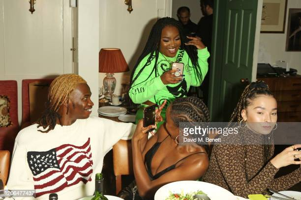 Lancey Foux, Leomie Anderson, Ray BLK and Ella Eyre attend the #OwnTheTable dinner and panel hosted by Leomie Anderson and Ray BLK at Soho House on...