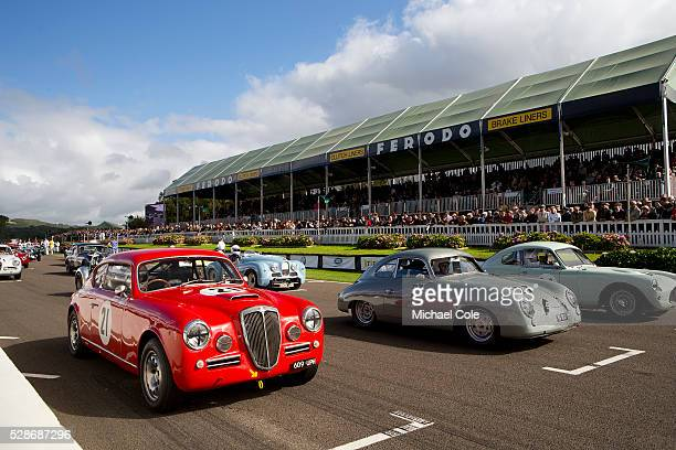 Lancia Aurelia B20GT driven by Louise Kennedy 1953 Porsche 356 driven by Robert Barrie on the start line for the Fordwater Trophy race