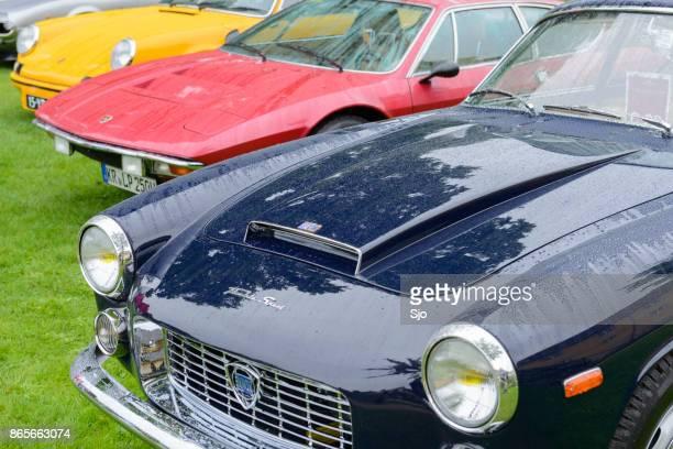 Lancia Flaminia coupe, Lamborghini Urraco en Porsche 911 Carrera RS oldtimers