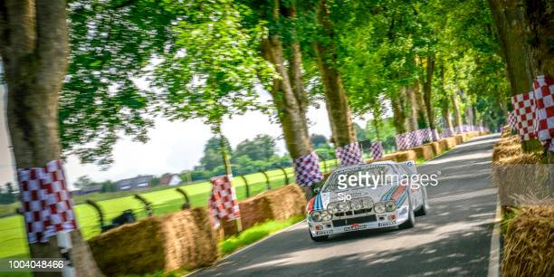 lancia rally 037 classic rally car driving at high speed - rally car stock photos and pictures