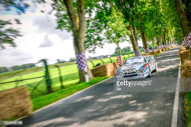 lancia rally 037 classic rally car driving at high speed - rally car racing stock pictures, royalty-free photos & images
