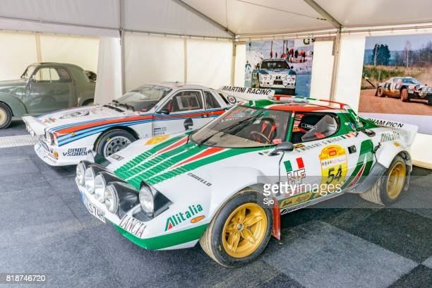 lancia stratos hf and martini racing group b lancia 037 rally cars - rally car stock photos and pictures