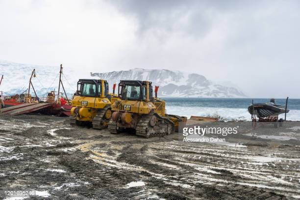 Land area to be prepared for the opening ceremony AJAX Glacier in the background on November 05 2019 in King George Island Antarctica