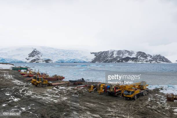 Land area to be prepared for the opening ceremony STENHOUSE and AJAX glaciers in the background on November 05 2019 in King George Island Antarctica