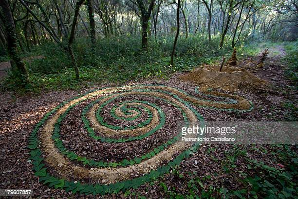 Land Art work by young artist Chara Carnevale in the Forest of Cuma, Naples, Italy, in September 2010