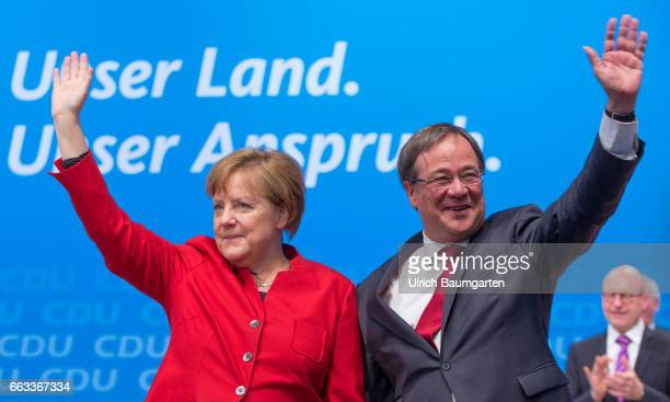 Land Party Conference of the CDU North Rhine Westphalia in Muenster Guest appearance of Chancellor Angela Merkel at the Party conference Arnim...