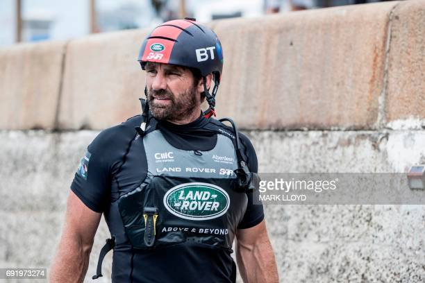 Land Rover BAR crewman Jono McBeth during the docking out in the America's Cup on June 3, 2017 on Bermuda's Great Sound. Holders Oracle Team USA...