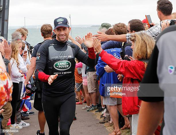 Land Rover BAR skippered by Ben Ainslie celebrates winning The 35th America's Cup Louis Vuitton World Series on July 24 2016 in Portsmouth United...