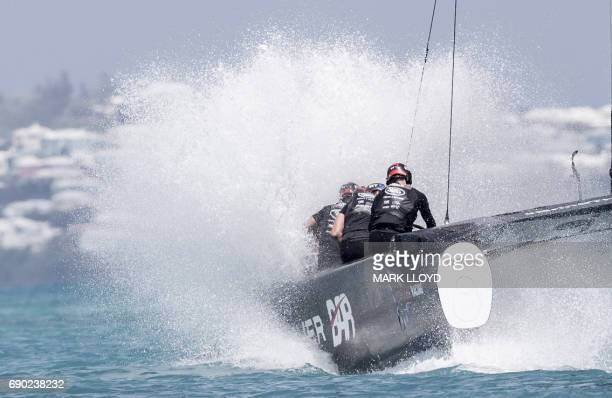 Land Rover BAR skippered by Ben Ainslie competes during the forth day of the Louis Vuitton Americas Cup Qualifiers on May 30, 2017 on Bermuda's Great...