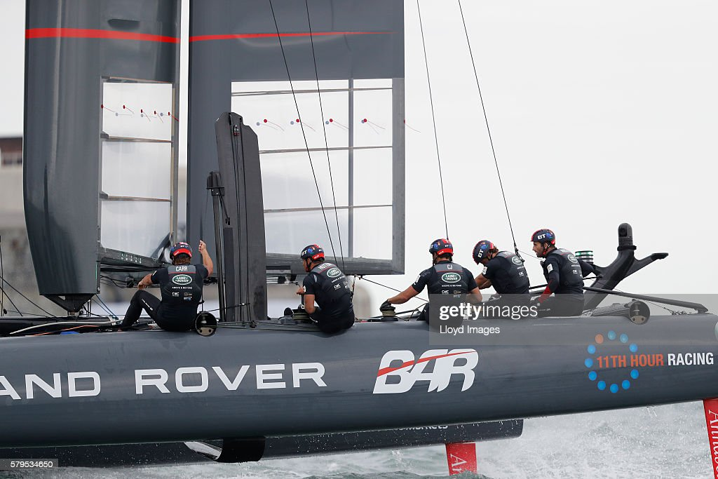 Land Rover BAR skippered by Ben Ainslie during day three of The 35th America's Cup Louis Vuitton World Series on July 24, 2016 in Portsmouth, United Kingdom.