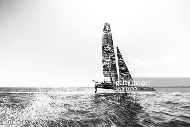 Land Rover BAR skippered by Ben Ainslie races during the first day of races in the 35th America's Cup Challenger Playoffs Semi-finals on June 4 in...