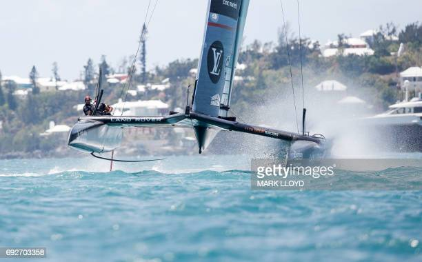 Land Rover BAR skippered by Ben Ainslie races in the 35th America's Cup Challenger Playoffs Semi-finals, on June 5 in Bermuda's Great Sound. Land...