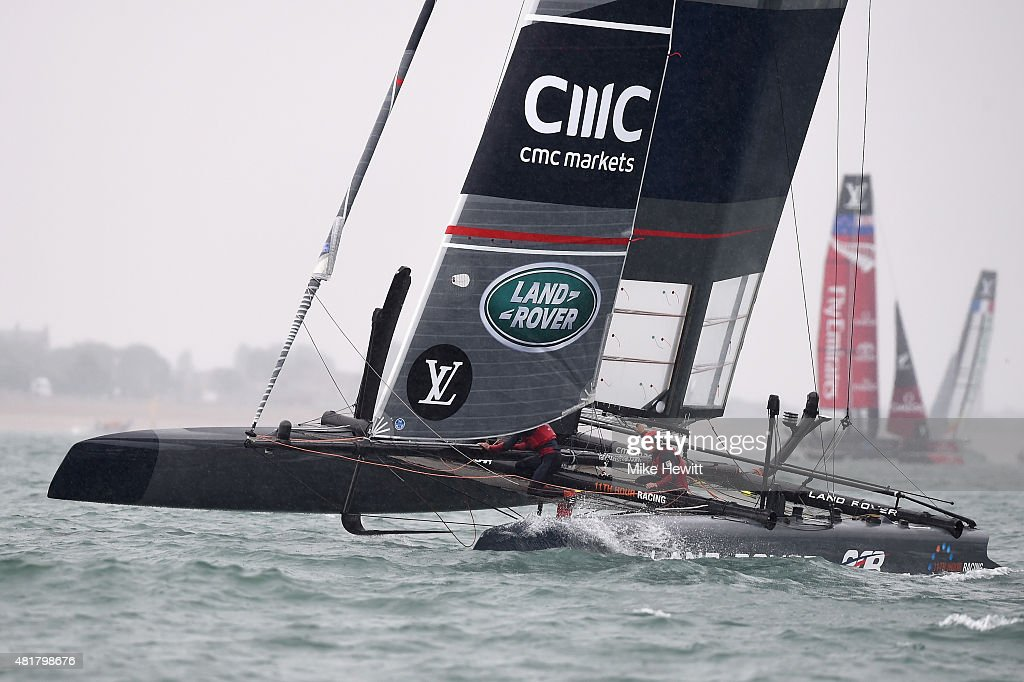 Land Rover BAR, skippered by Sir Ben Ainslie, in action during a trial race on Day Two of the Louis Vuitton America's Cup World Series on July 24, 2015 in Portsmouth, England.
