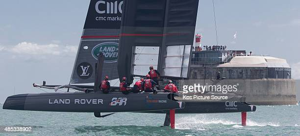 Land Rover BAR skippered by Sir Ben Ainslie in action during Day Three of the Louis Vuitton America's Cup World Series on July 25 2015 in Portsmouth...