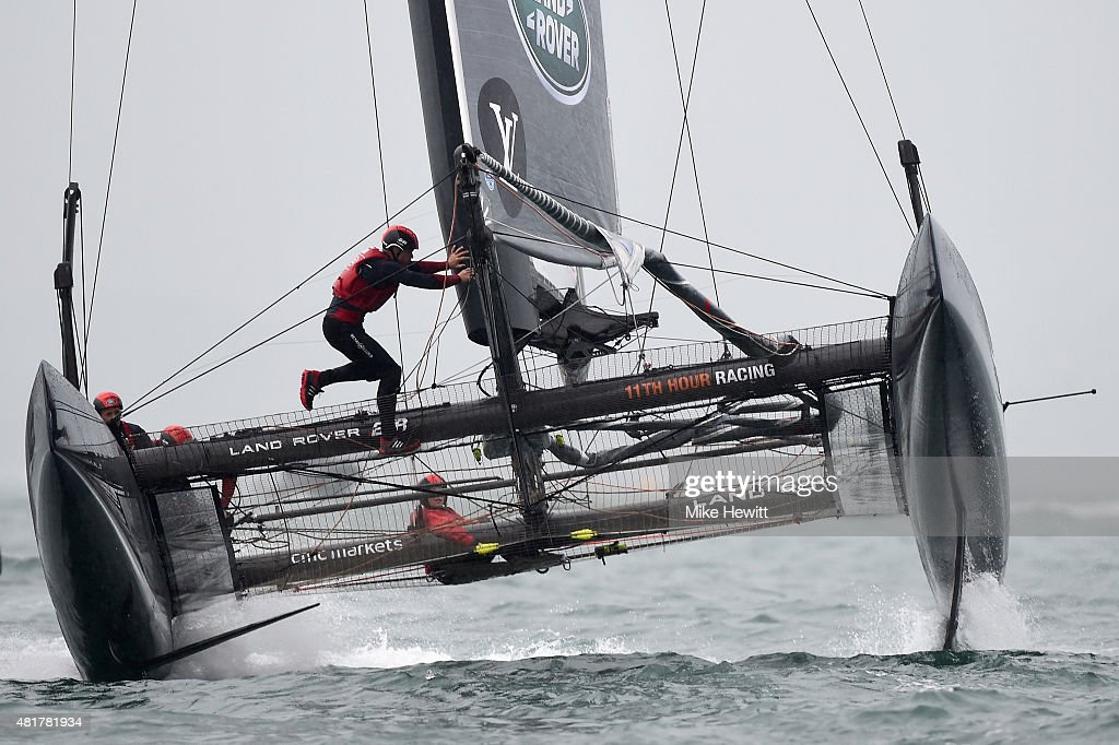 Land Rover BAR, skippered by Sir Ben Ainslie, in dramatic action during a trial race on Day Two of the Louis Vuitton America's Cup World Series on July 24, 2015 in Portsmouth, England.