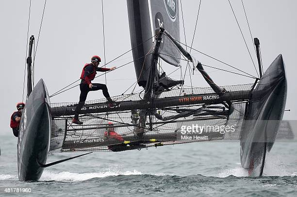 Land Rover BAR, skippered by Sir Ben Ainslie, in dramatic action during a trial race on Day Two of the Louis Vuitton America's Cup World Series on...