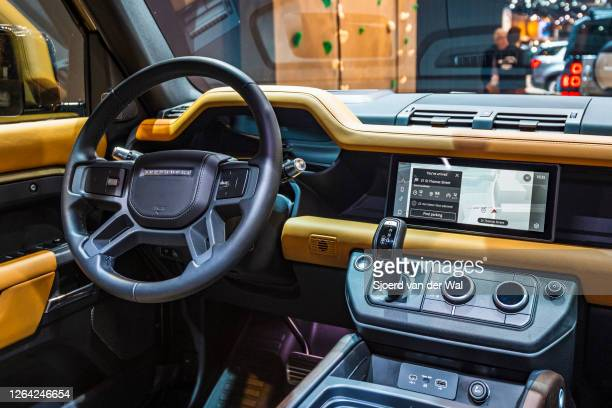Land Rover Defender 110 off-road 4x4 vehicle dashboard on display at Brussels Expo on January 9, 2020 in Brussels, Belgium. The all new Land Rover...
