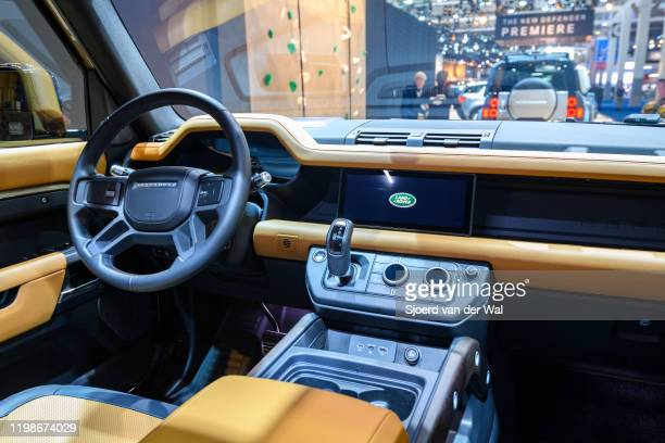 Land Rover Defender 110 off-road 4x4 vehicle interior on display at Brussels Expo on JANUARY 09, 2020 in Brussels, Belgium. The all new Land Rover...