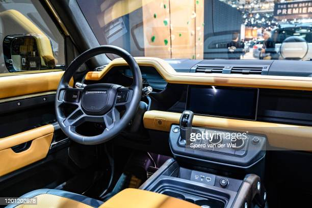 Land Rover Defender 110 offroad 4x4 vehicle interior on display at Brussels Expo on January 9 2020 in Brussels Belgium The all new Land Rover...